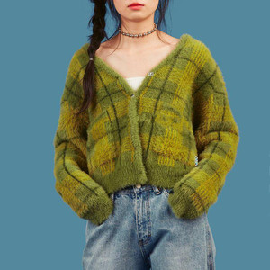Image 3 - Vintage Synthetic Mink Cashmere Sweater Women Harajuku Lazy Style Ladies V Neck Button Up Cropped Fuzzy Plaid Cardigan Knitted