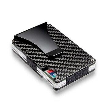 470885062 2019 Unisex nueva moda billeteras Slim de fibra de carbono bolsillos de  tarjeta de crédito RFID Bloqueo de Metal Clips de dinero monedero carteras  envío