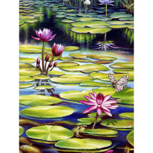 Full square diamond 5D DIY diamond embroidered Lotus diamond painting cross stitch rhinestone inlaid jewelry gift YY(China)