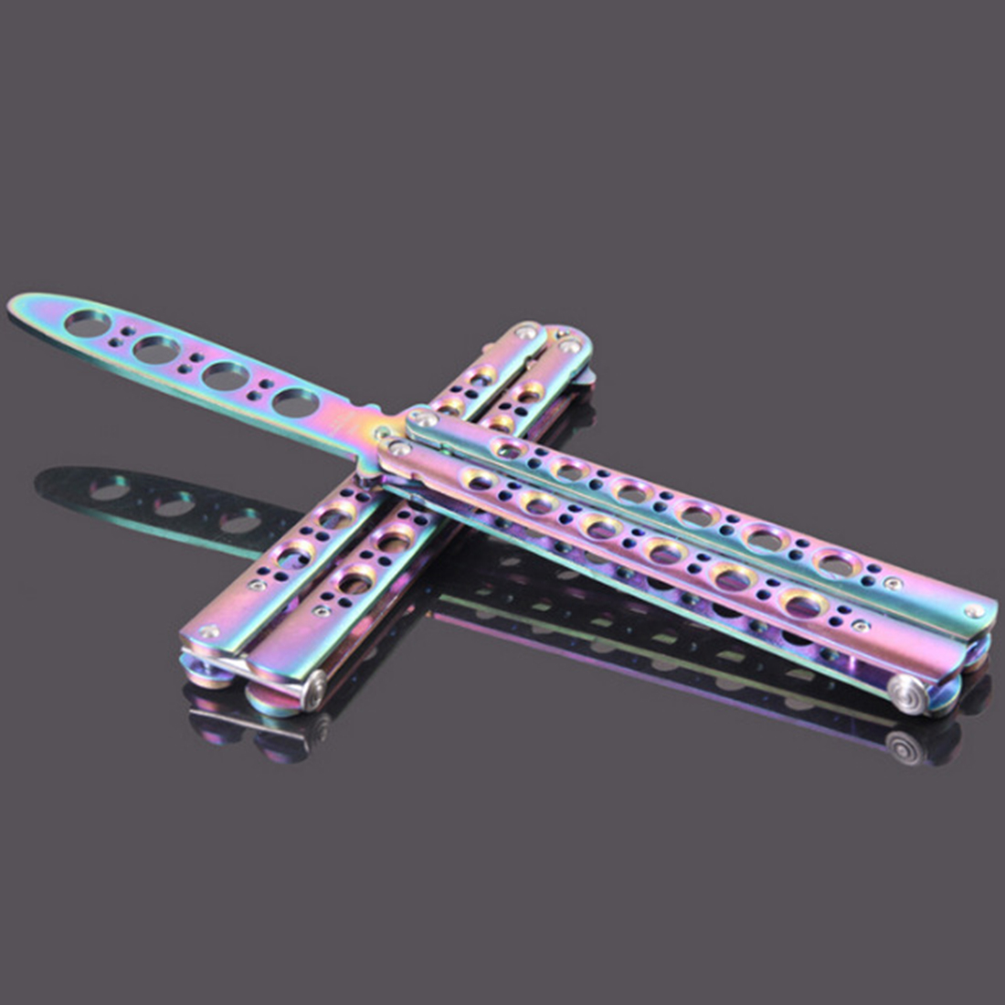Купить с кэшбэком Titanium Rainbow color Stainless Steel knife Butterfly Training Knife Folding Butterfly Knife Game Knife Dull Tool