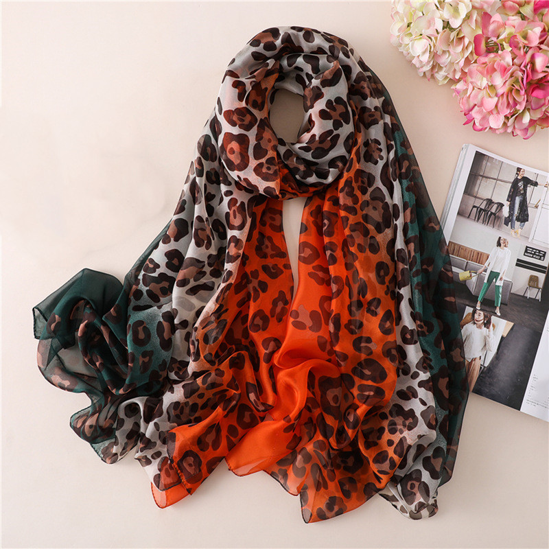 Beach leopard   scarf   soft touching silk red yellow print vintage   scarf   shawls large   wraps   for women female silk   scarves   bohemian