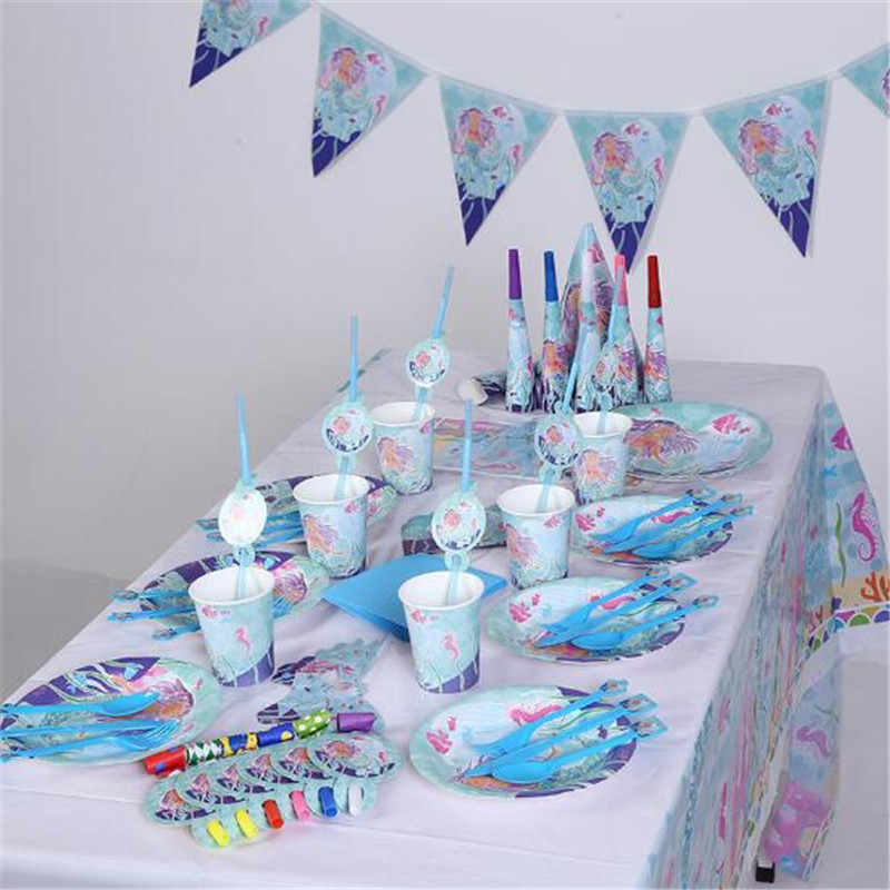 Wholesale Ariel Mermaid Theme supplies for kids paper Flags Plate Cap Party decoration Happy Birthday Baby Shower event party