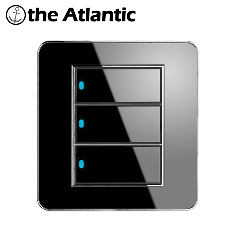 Atlantic Brand New Arrival 3 Gang 2 Way Free Click Push Button Wall Light Switch With LED Indicator Acrylic Crystal Panel button wall light switch 2 gang double control swich acrylic luxury crystal 86 panel led indicator light wall button switch