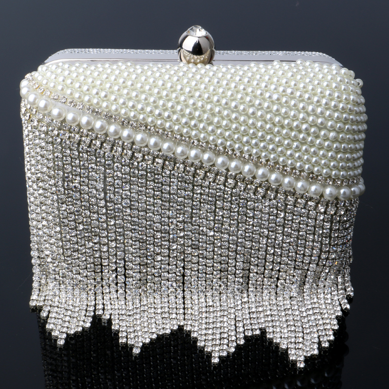 Small Day Clutch Lady Tassel Beading Evening Bag Gold/Silver Chain Shoulder Wedding Handbags For Girls Gift