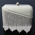 Tassel pearl women bag clutch diamonds beaded evening bags wedding bridal leather shoulder bags handmade handbags for wedding
