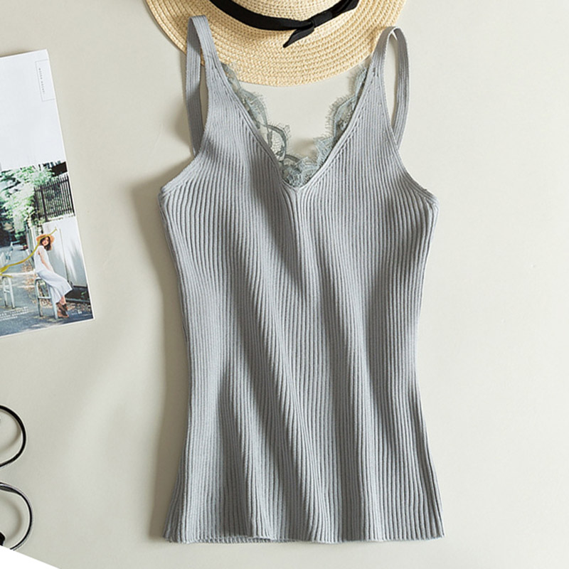 Sexy Lace Knitted Tank Tops Female Sexy V Neck Slim Crop Top One Size Solid Club Sleeveless Vest Women Summer Tank Top 7 Colors