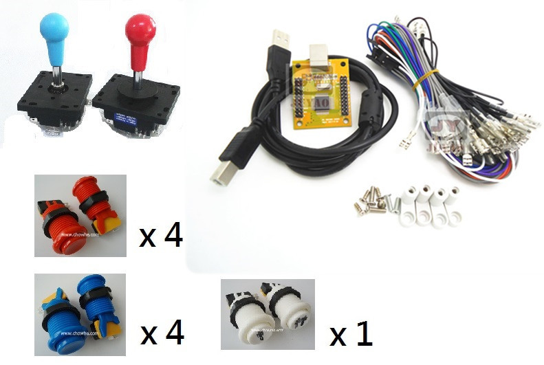1 kit for Arcade to USB controller 2 player MAME Multicade Keyboard Encoder with  joystick USB to Jamma, game controller комплект штор бабочка на ленте цвет белый сиреневый высота 170 см