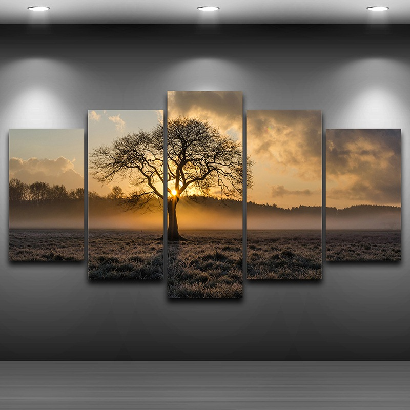 Canvas Painting Vintage Wall Art Frame Printed Pictures 5 Panel Poster Sunrise Tree Landscape Photo For Living Room Decor PENGDA no frame canvas