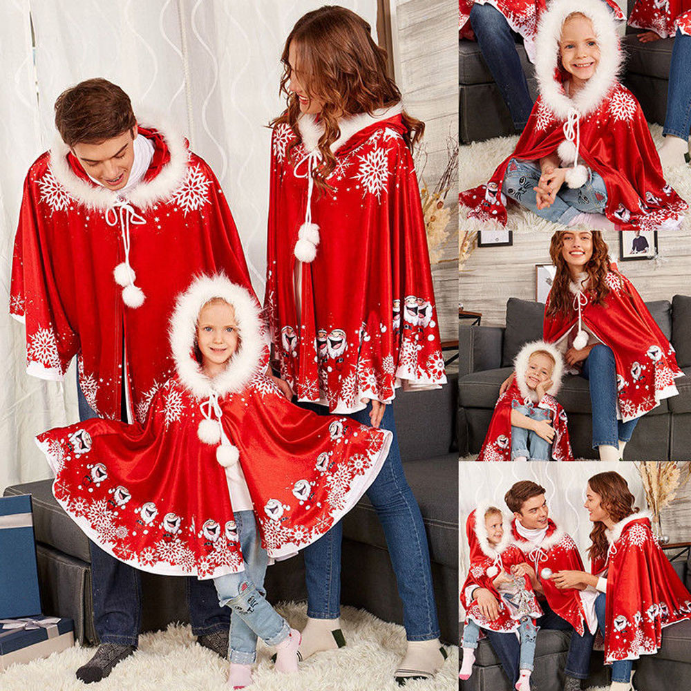 Matching Christmas Shirts For Family.Us 9 09 22 Off Mom Me Christmas Clothes Adult Womens Girls Boy Cloak Family Matching Christmas Hooded Cape Santa Coat Mommy Me Costume Cloth 30 In