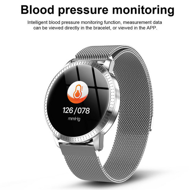 CF18 1.22 Inch Smart Watch Waterproof IP67 Blood Pressure Heart Rate Monitor Metal Starp Multi Sport Modes SmartWatch Women Band