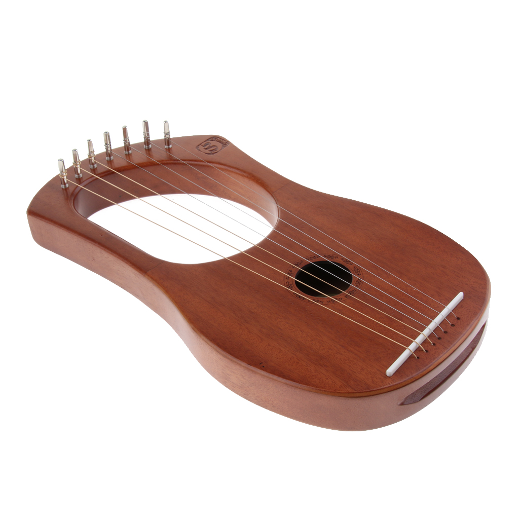 7 Strings Lyre Harp Harfe Arpa with Tuning Wrench & Strings Storage Bag Cleaning Cloth Accessories