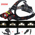 Zoomable 8000LM CREE XM-L T6+2R5 LED Headlight Headlamp Flashlight Head Lamp 4 Modes Head light + 2x18650 battery/Charger