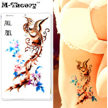 M-Theory Temporary Tattoos Body Arts Phoenix Flash Tatoos Stickers 17x10cm Waterproof Tatto Bikini Swimsuit Dress Makeup