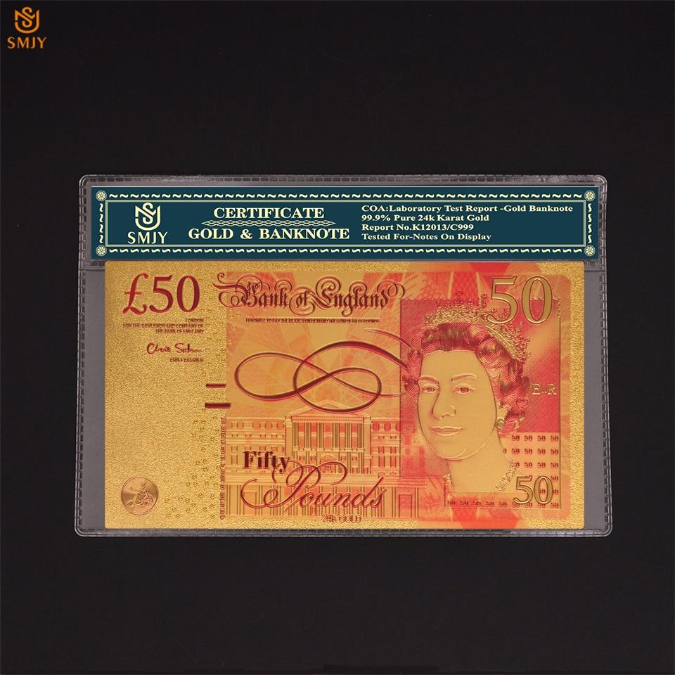 Brytyjski papier walutowy 20 W 24K złoty banknot replika pieniędzy Bill kolekcjonerski W/plastikowy rękaw