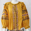 Bohemian Blouse Flower Embroidered Top with tassel loose cute puff sleeve Boho Popular-Only One SIze