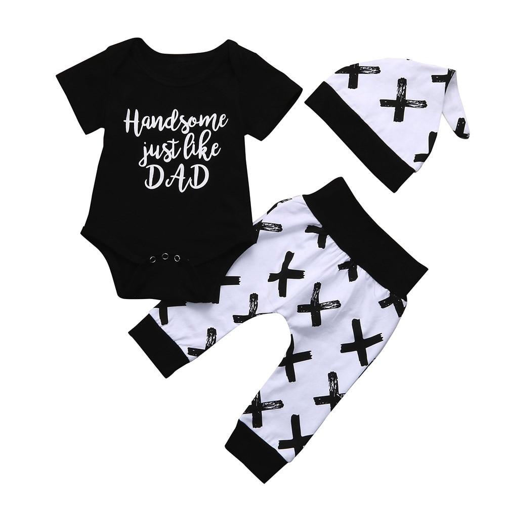 MUQGEW Toddler Baby Boy Clothes Short Sleeve Letter Print Tops T-Shirt +Pants Hats 3Pcs Infant Kids Set Outfits meisjes kleding