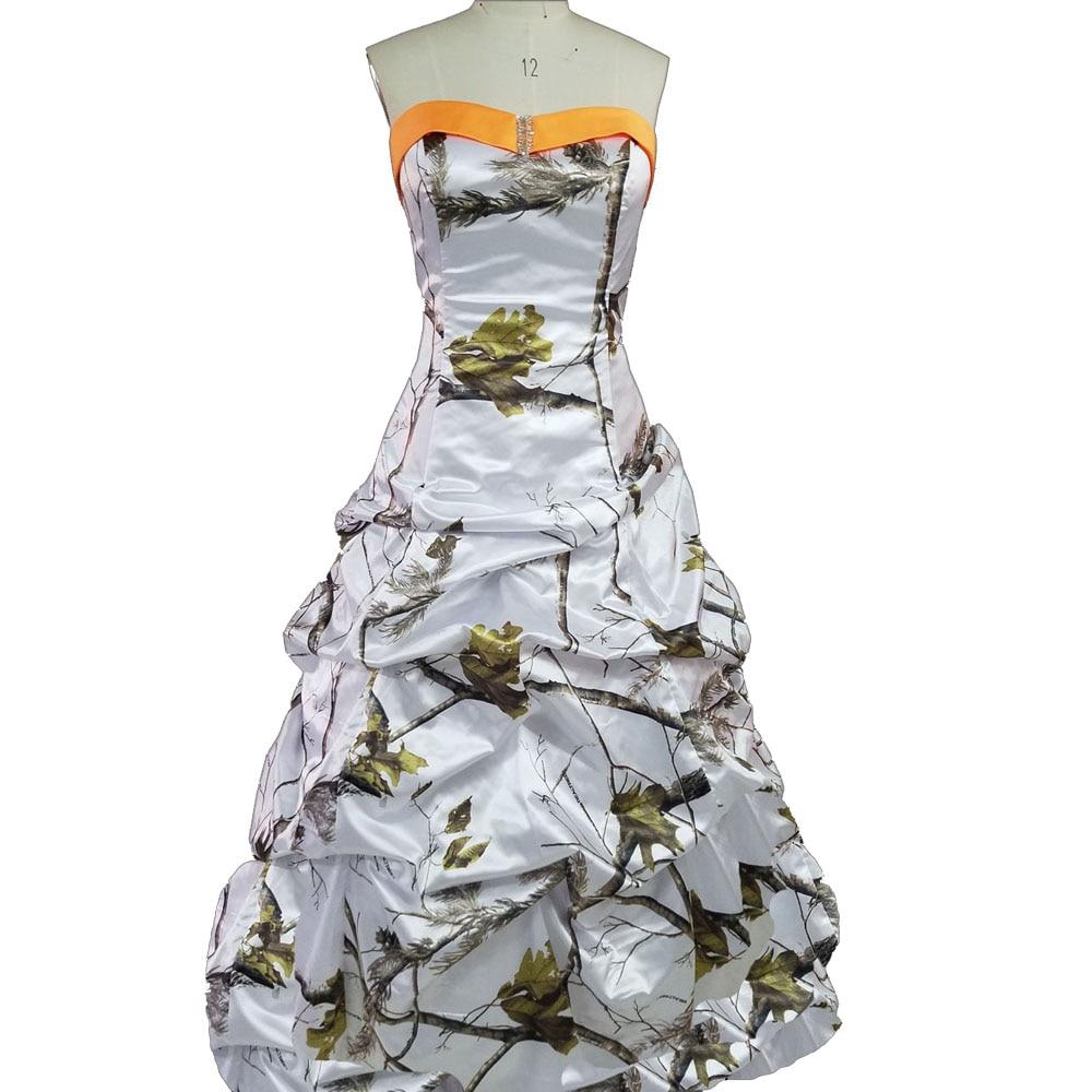 Realtree Schnee Weiß Camouflage Brautkleider 2019 Camo Party Kleid Lange Robe Longue Frauen Maxi Stellen Kostenloser Versand