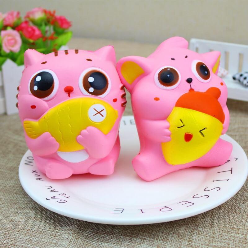 1Pcs Squishy Jumbo 11cm Kawaii Cat Hug Fish And Turnip Squishy Slow Rising Squeeze Toys Phone Strap Squishi Charms Kid Juguetes