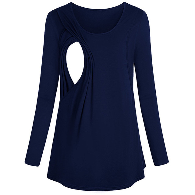 Telotuny maternity breastfeeding clothes Women's Long Sleeve Maternity Layered Nursing Tops For Breastfeeding Bouse  Dec29