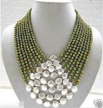 Miss charm Jew.690 Wedding jewelry charming 11-12mm white coins & green Fresh water pearl necklace