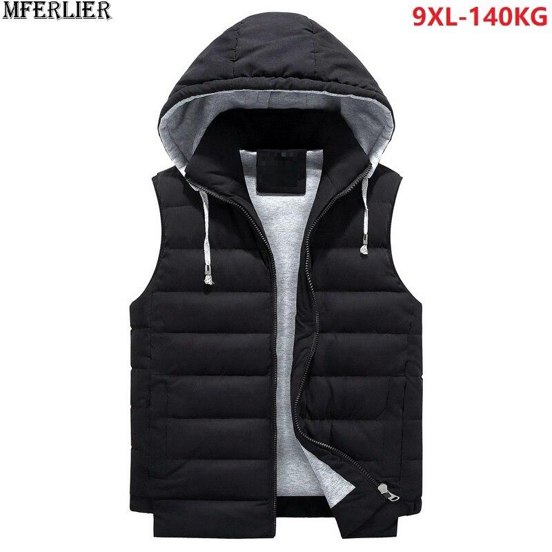 Aspiring Mferlier Men Vests Hooded Coat Thick Plus Size 6xl 7xl 8xl 9xl Winter Warm Loose Vests Cotton-padded Waistcoat Orange Black 5xl