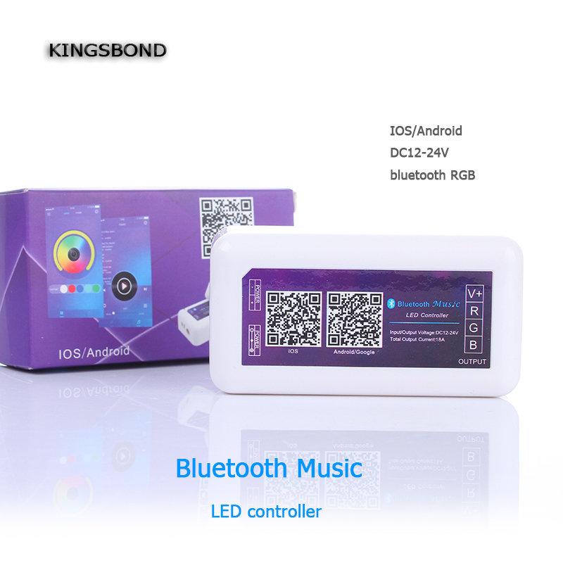 DC12V-24V Bluetooth 4.0  Led music Controller Dimmable For RGB LLed strip Light control by smartphone IOS Android APP