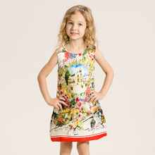 Hot Sale Christmas Super Flower Girl Dresses for Party and Wedding Castles Print Princess Kids Dress Fashion Children's Clothing