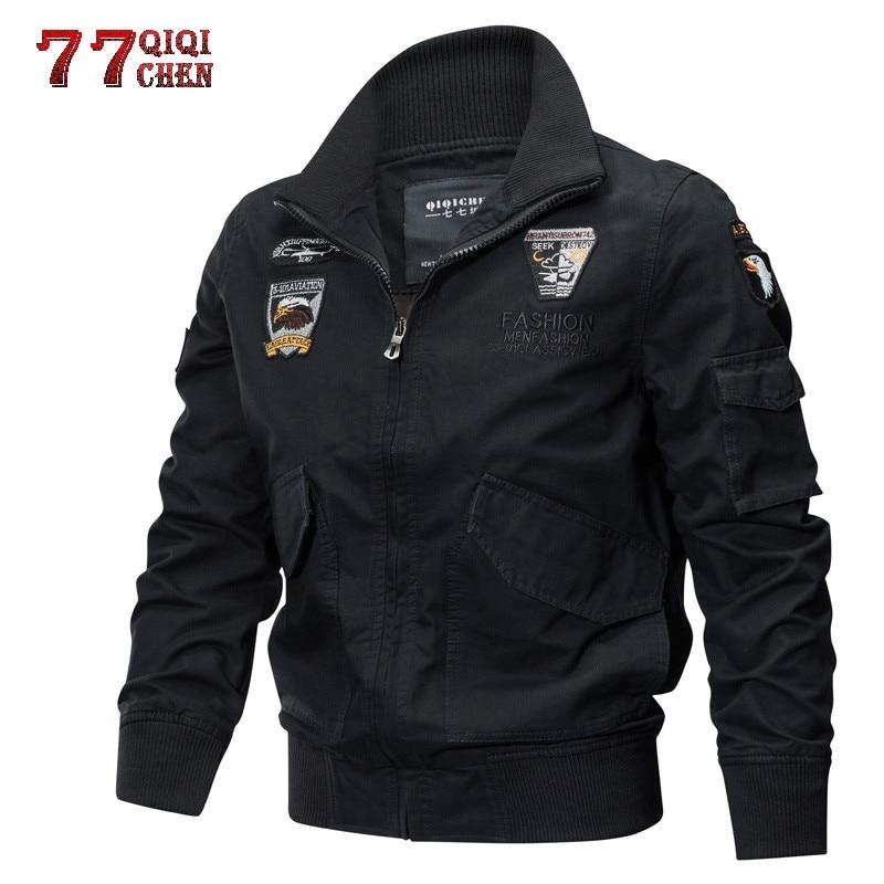 Jaqueta Cargo-Jackets Pilot Air-Force Plus-Size Men Autumn Tactical Winter Cotton 4XL