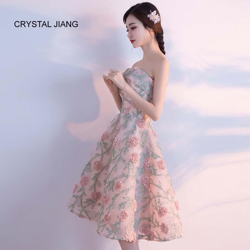 CRYSTAL JIANG 2018 Bruidsmeisje Jurk Strapless 3D Bloemen vestidos de - Bruiloft feestjurken - Foto 3