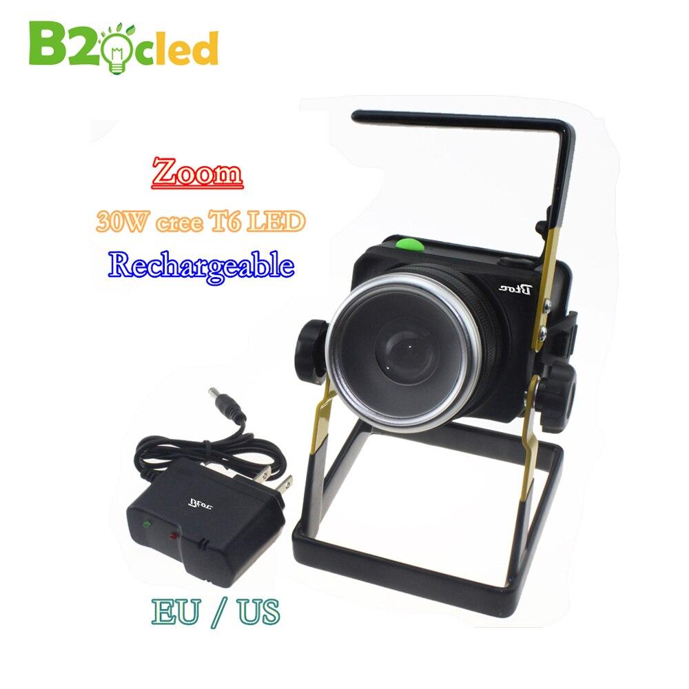 Rotation zoom portable LED projecteur 30 W Rechargeable portable lampe 18650 Batterie éclairage Extérieur lampe de poche d'inondation lumière UE
