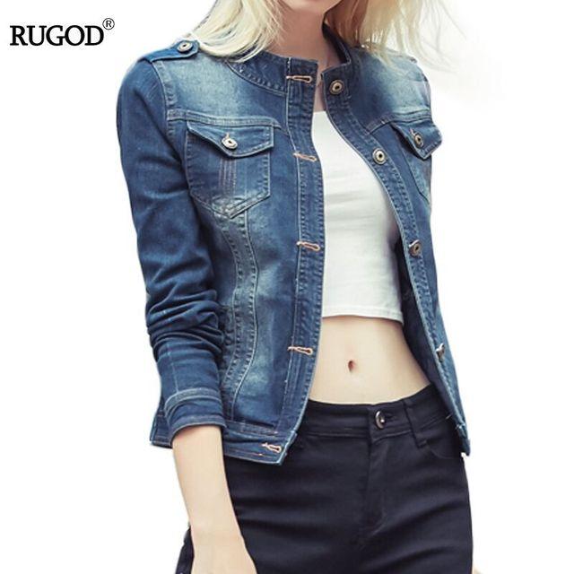 Rugod Wholesale 2018 Spring Autumn Women denim jackets vintage casual Bomber female Jean jacket for outerwear women basic coats