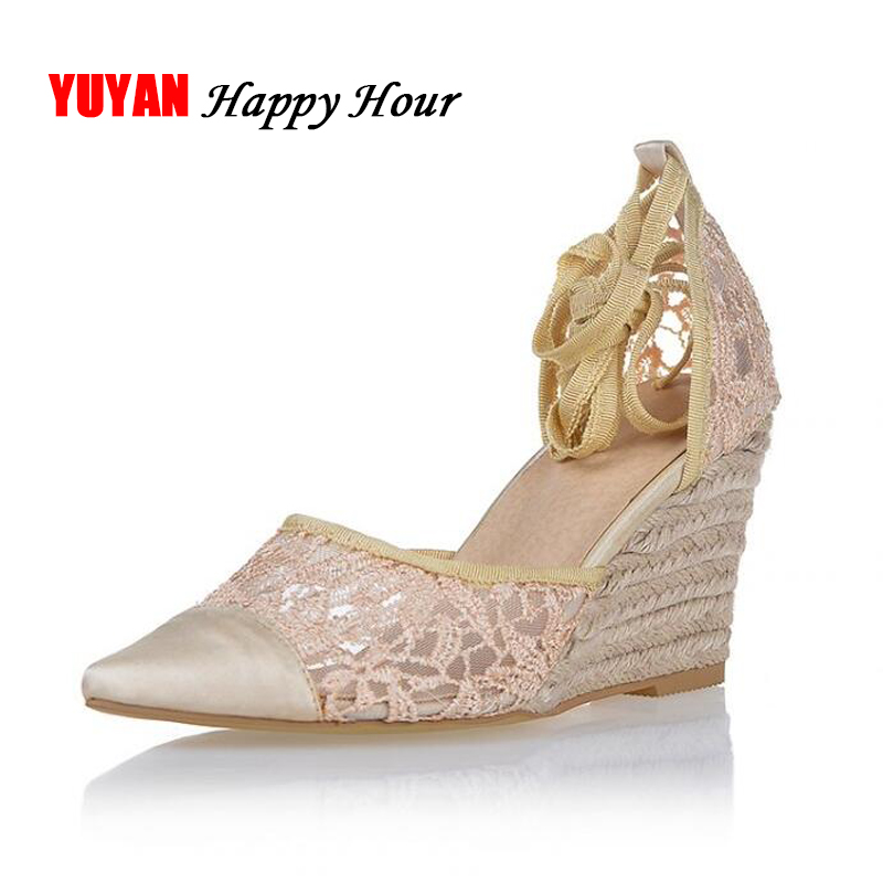 New 2018 Sumemr High Heel Sandals Women Lace Summer Shoes Sexy Ladies Wedge Sandals Brand Pointed toe Wedge Heels 8cm ZH2014 цена 2017