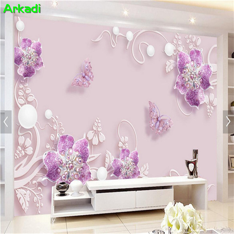 3D Wallpaper Purple Cozy Fashion Butterfly Flower