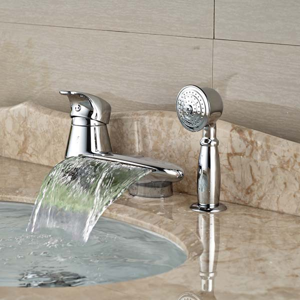NEW LED Color Round Waterfall Spout Bathroom Tub Faucet W ...