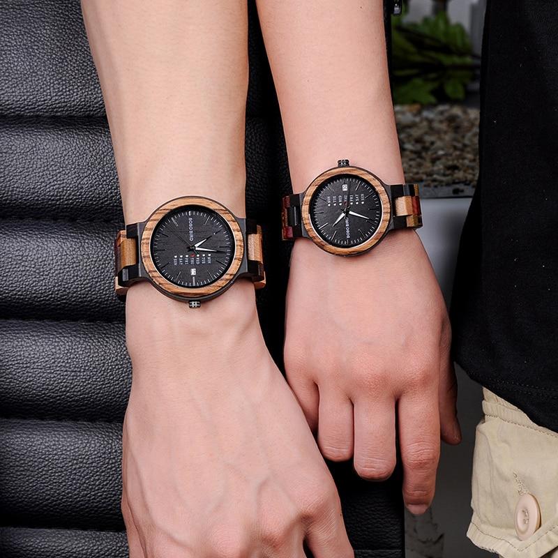 BOBO VOGEL Bambus Holz Liebhaber Paar Uhren Männer Zeigen Datum Damen Armbanduhr Frauen Quarz Männlichen bajan kol saati Geschenk in holz Box