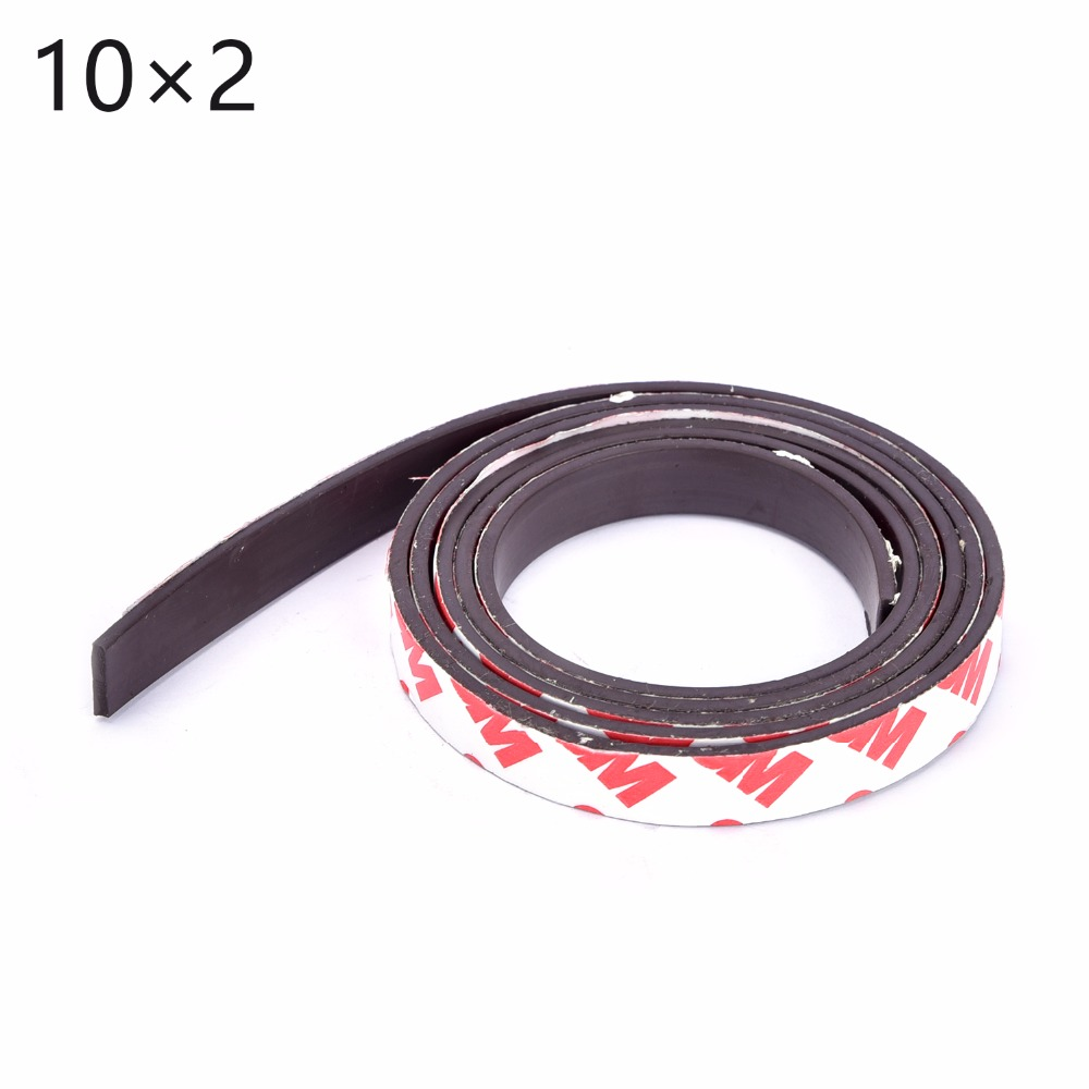 Free Shipping 1Meters self Adhesive Flexible Magnetic Strip 1M Rubber Magnet Tape width 10mm thickness 2mm