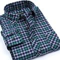 Nuevos hombres de la llegada fashion clothing manga larga de alta calidad no-hierro cepillado franela camisas a cuadros camisa casual de negocios para los hombres