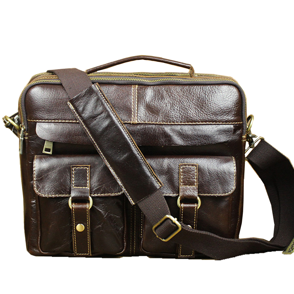 gentleman's west brzone light grease genuine cowhide leather travel crossbody Shoulder messenger laptop shopping business Bags