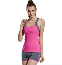 Free shipping Women's Elastic Breathable Running Gym Sport Vest and Shorts Suits 4FYG1073