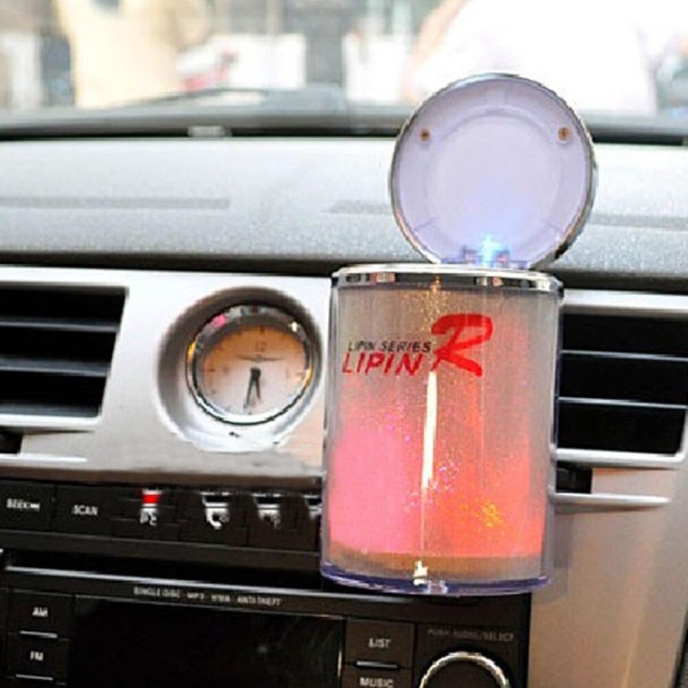 Plastic Movable LED Colorful Flashing Light Car Cigarette Ash Holder Cup Ashtray Smoking Tool Office Home Car Use Color Random