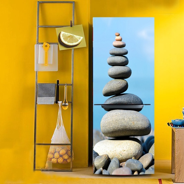 DIY Stacked Stone PVC Waterproof Self Adhesive Refrigerator Sticker ...