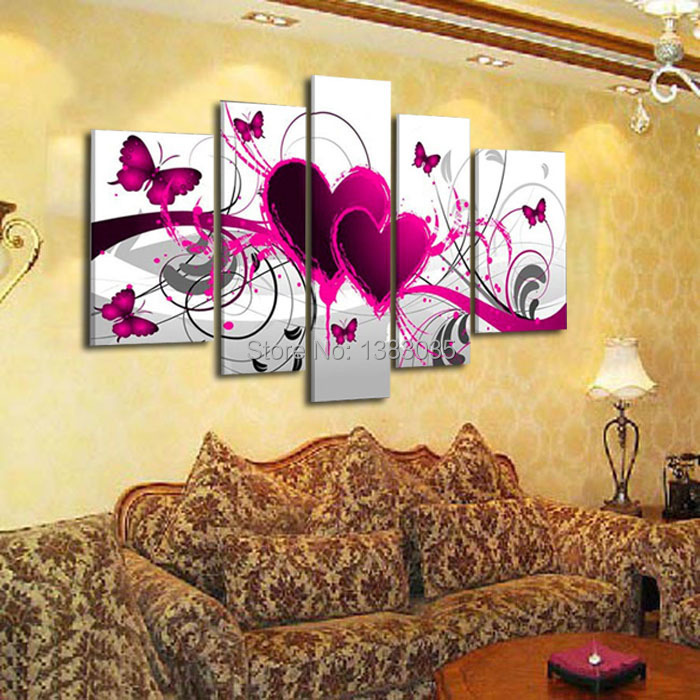 Hand Painted Abstract Pink Canvas Painting Butterfly Heart Oil ...
