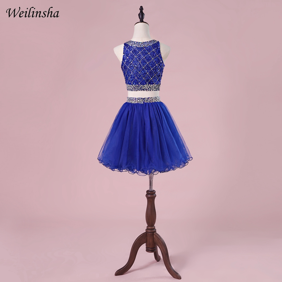 Weilinsha Sexy Two Pieces   Cocktail     Dresses   Mini Above Knee Formal Cute Girls Homecoming   Dress   Plus Size Crop Top Custom