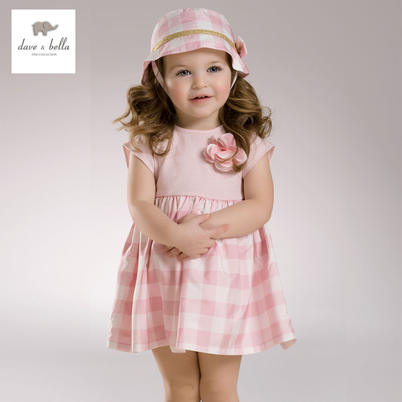 DB3399 dave bella summer baby dress infant clothes girls party fairy dress toddle 1 pc kid princess wedding dress lolita