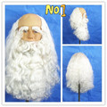 Curly Christmas Santa Claus White Long Kinky  Cosplay Synthetic Head Hair Wigs Cheap Old Man Male Cosplay With Beard