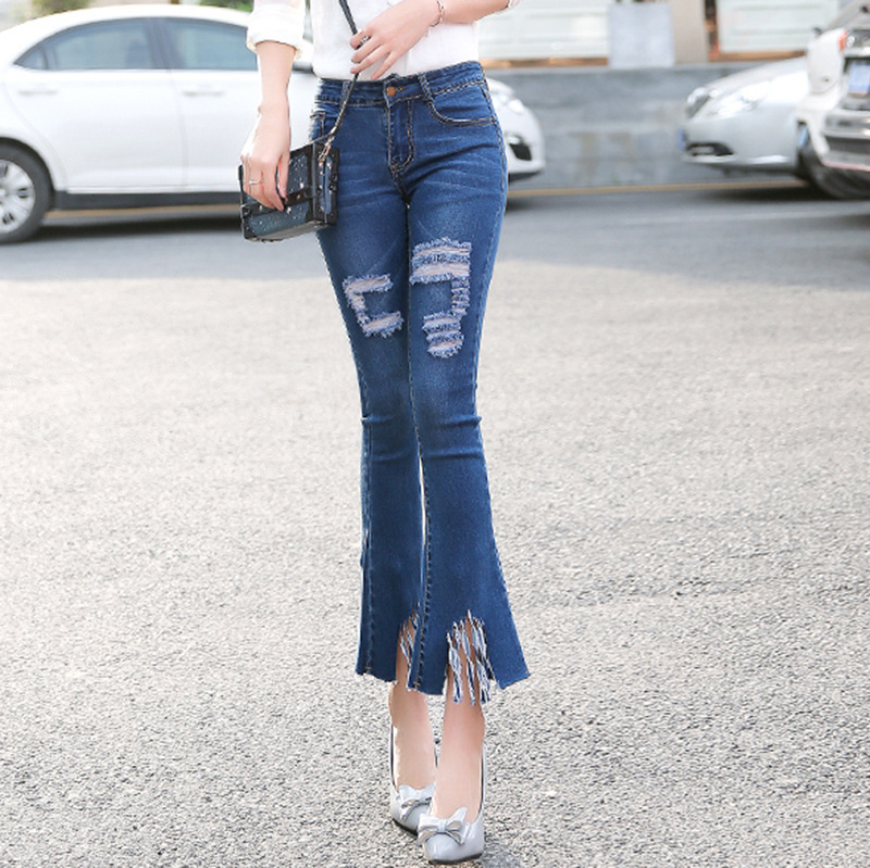 2017 Women Jeans Flare Jeans Bootcut Casual Pants Ripped Wide Leg Denim Bell Bottom Stretchy Spring Summer Woman Sexy Trousers