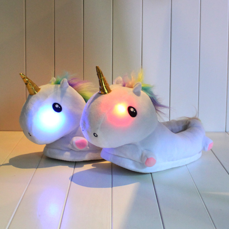 fb73d23f0b7 Detail Feedback Questions about 35cm Unicorn Plush Slipper Indoor Winter  Warm Shoes With LED Light for Girls at Night on Aliexpress.com
