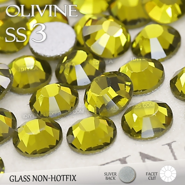 SS3 1.4mm Olivine Nail Rhinestones 1440pcs/bag Non HotFix FlatBack Crystals glass strass Glitters for nail Art glue on stone