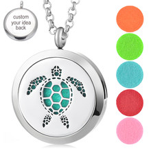 30mm Essential Perfume Oil Diffuser Locket 316L Stainless Steel Turtle Magnetic Randomly Send 10pcs Oil Pads as Gift VA-405(China)