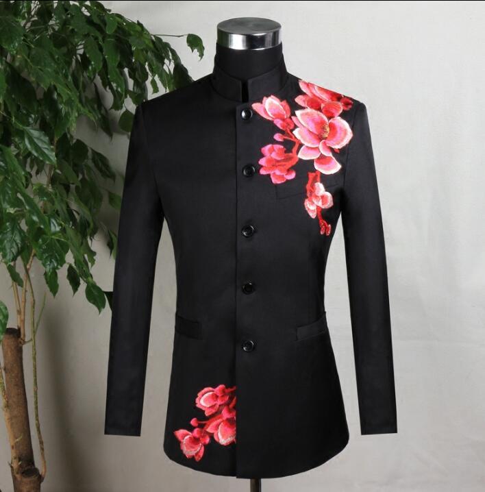Embroidery blazer men formal dress latest coat designs marriage suit men masculino wedding suits for men's black stand collar